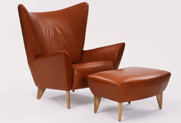 DesignMuseum-Matador-chair-footstool-in-brown-leather
