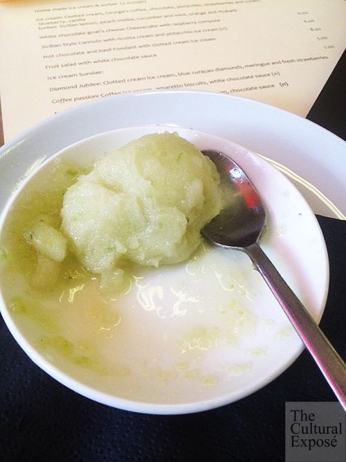 Cucumber and mint sorbet from The Foundry