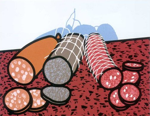 Three Sausages, 1978, Screenprint, Paper 74.5 x 91.3 cm , Image 54.4 x 70.8 cm, Edition of 75. Courtesy the artist and the Alan Cristea Gallery