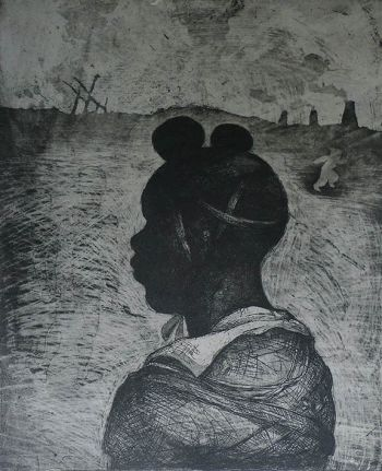 Child soldier 1, etching/aquatint chine-collé, 2014 © Marcelle Hanselaar