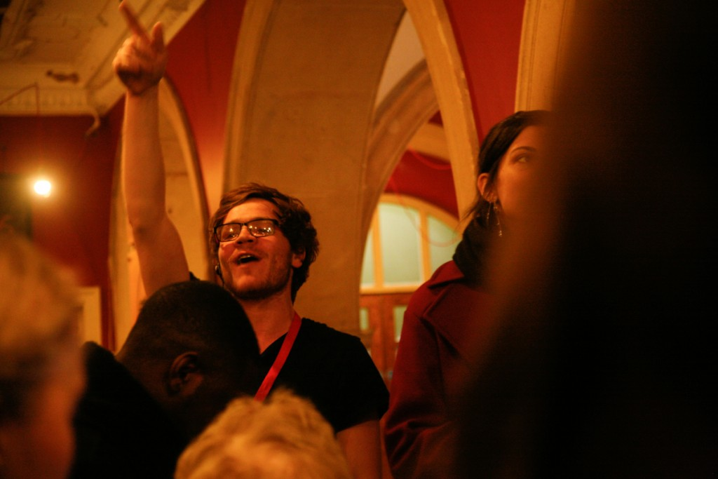 A steward at Battersea Arts Centre rounds up the audience for Scratch double bill Show Me The Money and How To Die of a Broken Heart.