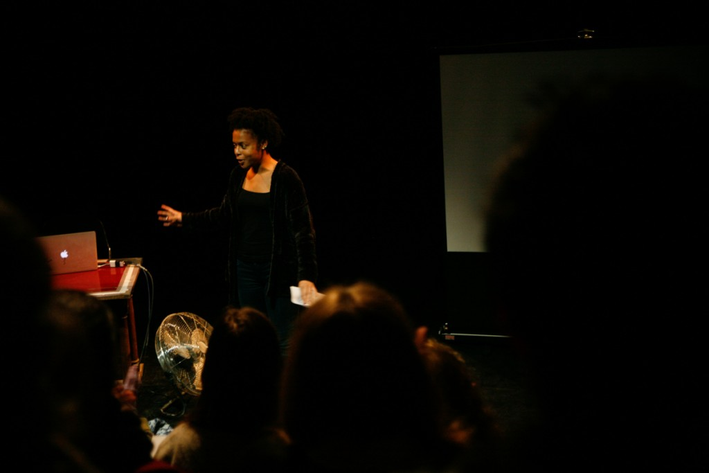 Femi Martin (who performed in her own show How To Die of a Broken Heart) talks to the audience.