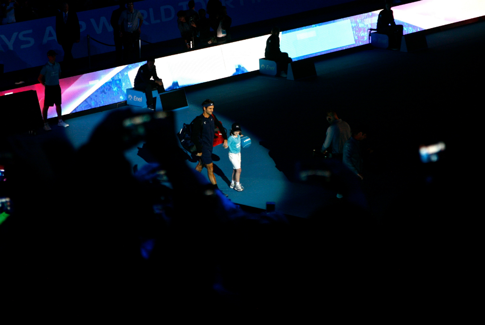 Watching tennis legend Roger Federer walk onto the court at last night's ATP World Tour Finals at the O2.